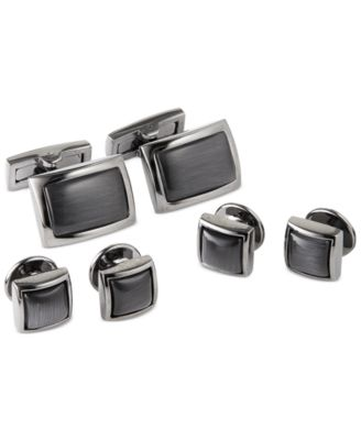Mens Steel /& Grey Cat Eye Cufflinks