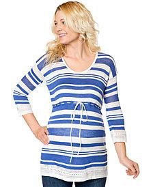 Motherhood Maternity Three-Quarter-Sleeve Striped Babydoll Top