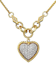 D'Oro by EFFY Diamond Pavé Diamond Heart Pendant (3/4 ct. t.w.) in 14k Gold and 14k White Gold