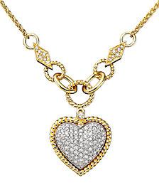 D'Oro by EFFY Diamond Pavé Diamond Heart Pendant (3/4 ct. t.w.) in 14k Gold and 14k White Gold