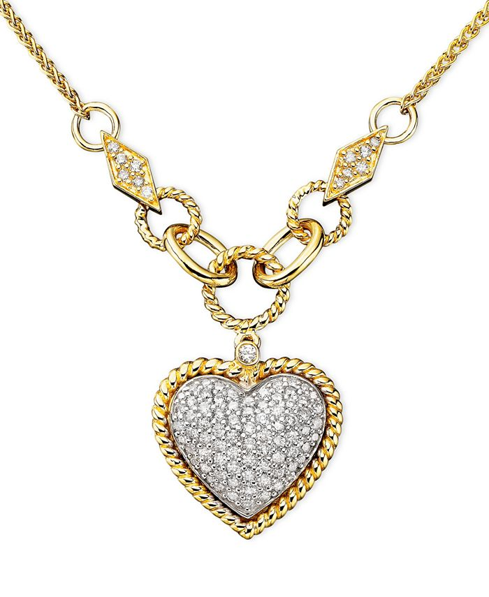 EFFY Collection - Diamond Pavé Diamond Heart Pendant (3/4 ct. t.w.) in 14k Gold and 14k White Gold