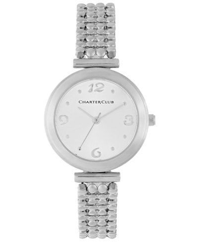 Charter Club Women's Silver-Tone Bubble Link Bracelet Watch 30mm 13588