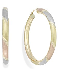 Tri-Tone Diamond-Cut Hoop Earrings in 14k Gold