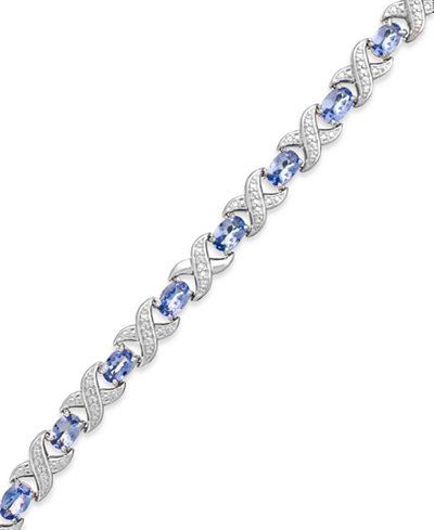 Tanzanite (7 ct. t.w.) and Diamond Accent XO Bracelet in Sterling Silver, Created for Macy's