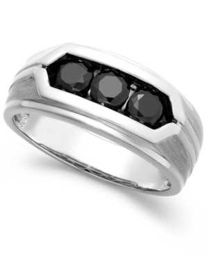 Men's Black Diamond Ring in Sterling Silver (1 ct. t.w.)