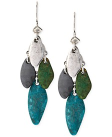 Silver-Tone Patina Mixed Bead Chandelier Earrings