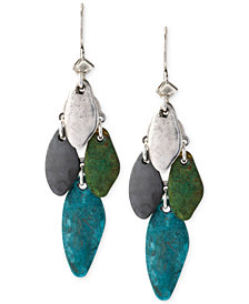 Robert Lee Morris Soho Silver-Tone Patina Mixed Bead Chandelier Earrings