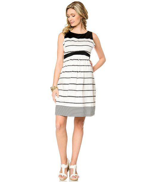 Motherhood Maternity Sleeveless Striped Dot-Print Dress