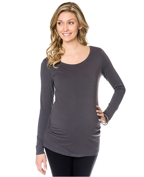 ccf7a4c2ce4ba ... BumpStart Long-Sleeve Scoop-Neck Ruched Maternity Tee 2-Pack ...