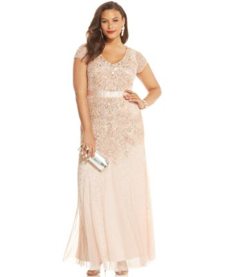 Adrianna Papell Plus Size Embellished Gown - Dresses - Women - Macy\'s