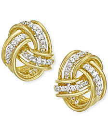 Diamond Love Knot Stud Earrings in 10k Gold (1/5 ct. t.w.)