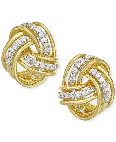 Diamond Love Knot Stud Earrings in 10k Gold (1/5 ct. t.w.)