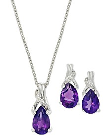 Amethyst (1-1/4 ct. t.w.) and Diamond Ear and Pendant Set in Sterling Silver