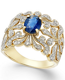 EFFY Sapphire (1-3/8 ct. t.w.) and Diamond (1/3 ct. t.w.) Antique Ring in 14k Gold