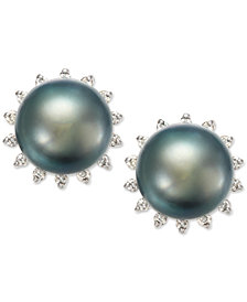 Tahitian Pearl (8 mm) and Diamond (1/5 ct. t.w.) Earrings in 14K White Gold