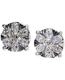 EFFY Diamond Cluster Stud Earrings in 14k White Gold (1-1/8 ct. t.w.)