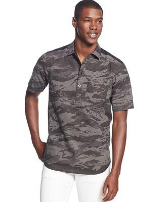 Sean John Linen Blend Camo Shirt Casual Button Down