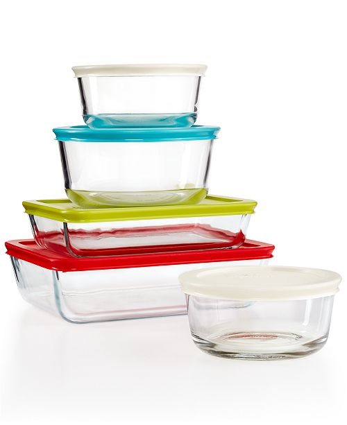 Pyrex 10-Piece Simply Store Set with Colored Lids, Created for Macy's