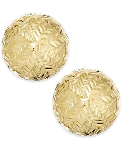 Chevron-Cut Ball Stud (8mm) Earrings in 14k Gold