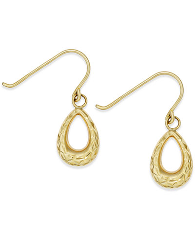 Diamond-Cut Teardrop Earrings in 14k Gold