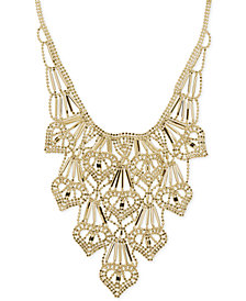 Beaded Heart Layered Frontal Necklace in 14k Gold