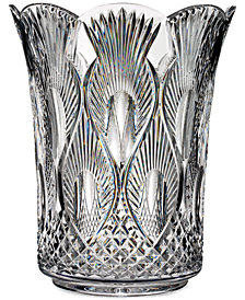 "Waterford Master Craft Collection Crystal Peacock 12"" Vase"