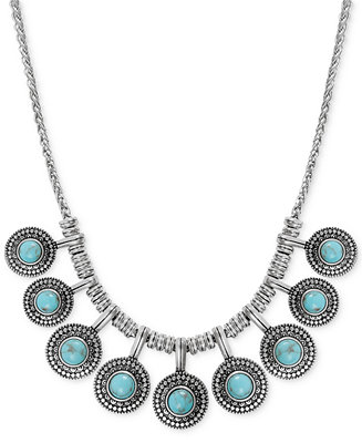 Lucky Brand Silver Tone Reconstituted Turquoise Collar