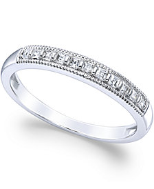 Diamond Milgrain Ring in 14k White Gold (1/4 ct. t.w.)