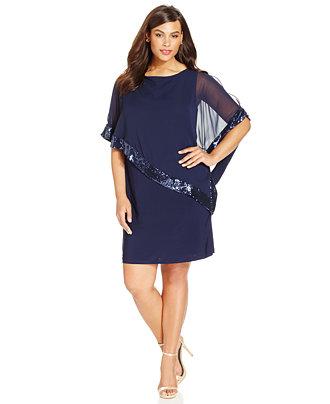 Xscape Plus Size Sequin Trim Capelet Dress Dresses
