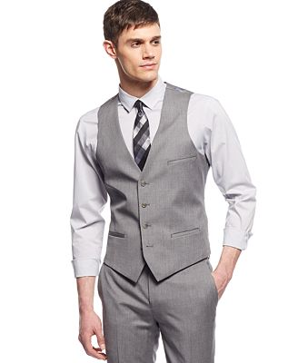 Bar Iii Light Grey Extra Slim Fit Vest