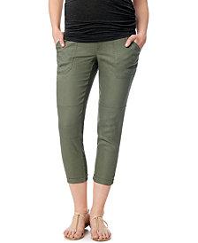 A Pea In The Pod Maternity Secret Fit Belly® Linen-Blend Crop Pants