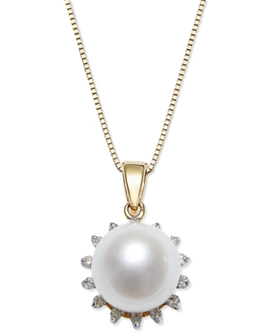 Cultured Freshwater Pearl (8mm) and Diamond (1/10 ct. t.w.) Pendant Necklace in 14k Gold
