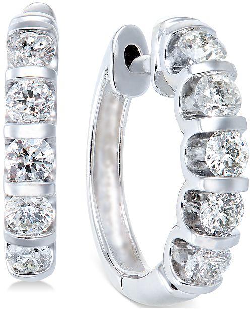 Macy's Diamond Hoop Earrings in 14k White Gold (1-1/2 ct. t.w.)