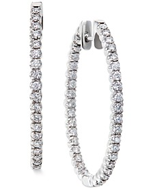 Diamond Hoop Earrings in 14k White Gold (2 ct. t.w.)