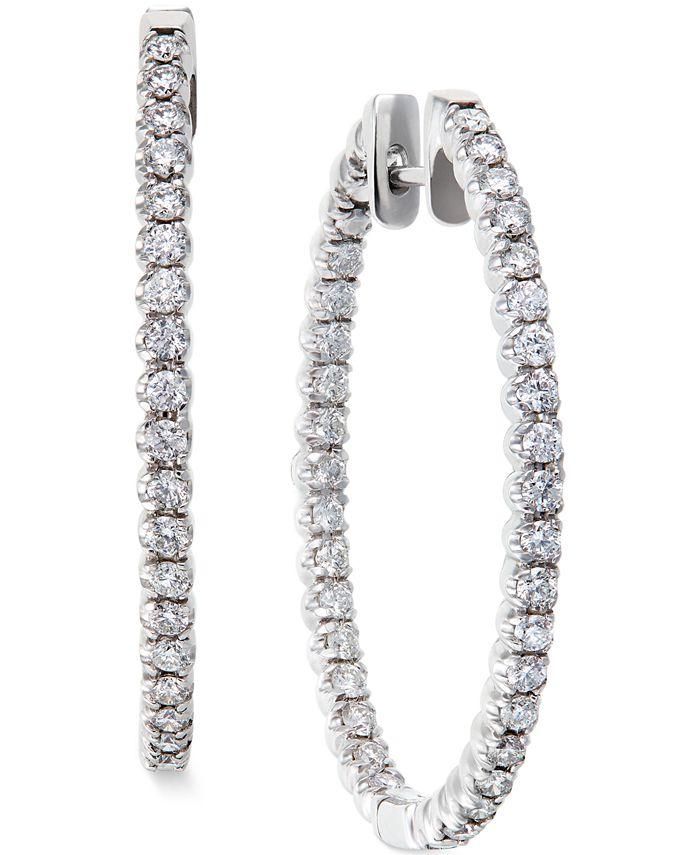 Macy's - Diamond Hoop Earrings in 14k White Gold (2 ct. t.w.)