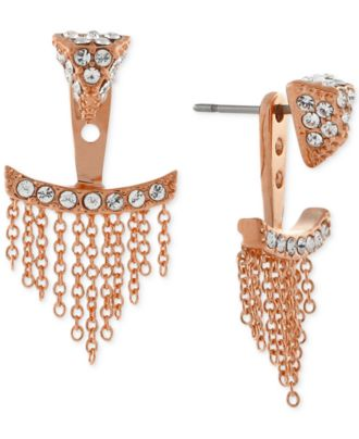 Vince Camuto Rose Gold-Tone Pavé Triangle and Chain Fringe Ear Jackets