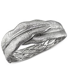 Balissima by EFFY Diamond Leaf Bangle Bracelet in Sterling Silver (3/8 ct. t.w.)
