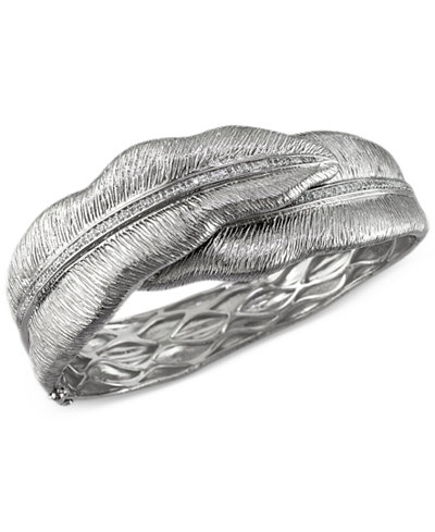 Balissima by EFFY Diamond Leaf Bangle Bracelet in Sterling Silver (1/2 ct. t.w.)