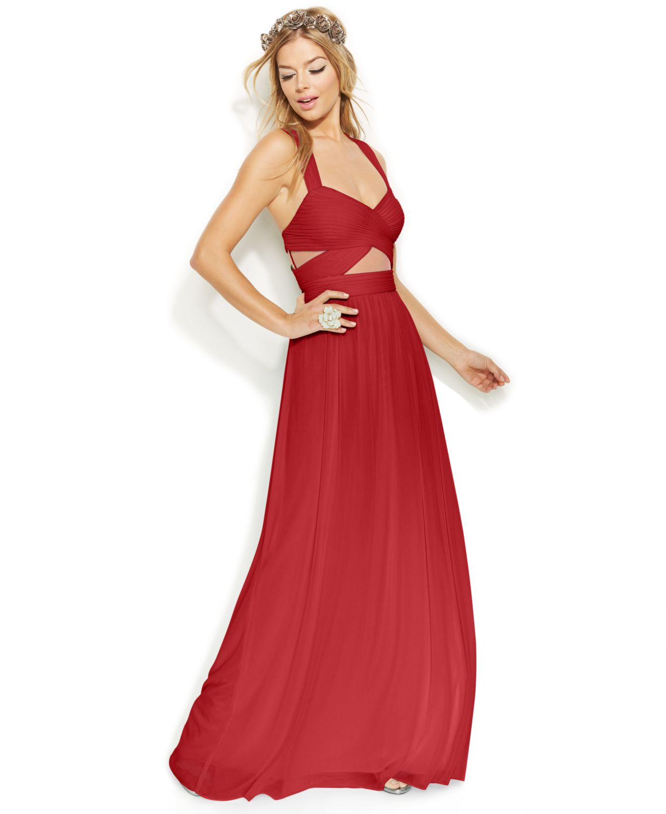 Red Strapless Sequin Dress
