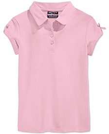 Little Girls School Uniform Bow-Sleeve Polo