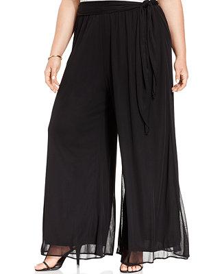 Msk Plus Size Tie Front Palazzo Pants Pants Women Macy S