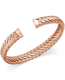 Italian Gold Woven Cuff Bracelet in 14k Rose Gold over Sterling Silver