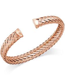 Italian Gold Woven Cuff Bracelet in 14k Rose Gold over Sterling Silver