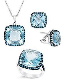Sky Blue Topaz and Swarovski Zirconia Jewelry in Sterling Silver