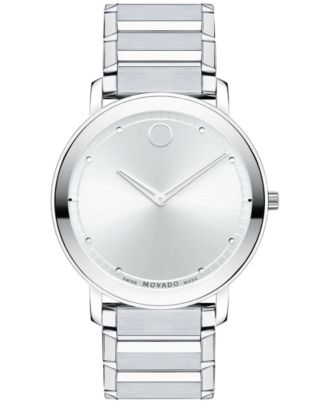 Movado Unisex Swiss Sapphire Stainless Steel Bracelet Watch 40mm 0606881