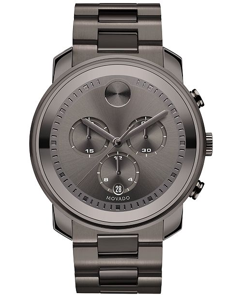 1ba364e06 ... Movado Men's Swiss Chronograph Bold Gunmetal Ion-Plated Stainless Steel  Bracelet Watch 44mm 3600277 ...