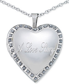 Diamond Accent Love Story Heart Pendant Necklace in Sterling Silver