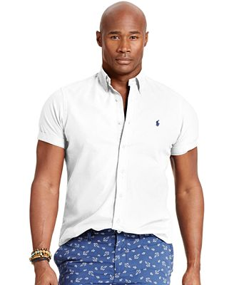 Polo ralph lauren big and tall short sleeved oxford shirt for Polo ralph lauren casual button down shirts