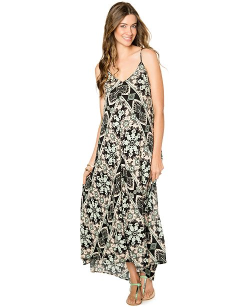 Wendy Bellissimo Maternity Printed Cutout-Back Maxi Dress