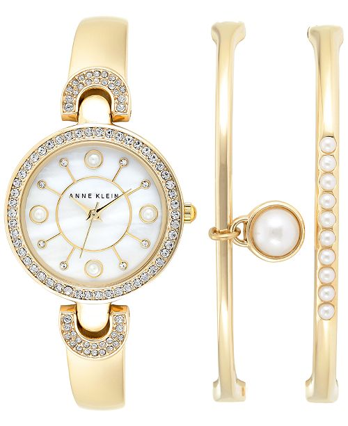Anne Klein use page 2939777 Women's Imitation Pearl Gold-Tone Bangle Bracelets and Watch Set 30mm AK-1960GBST